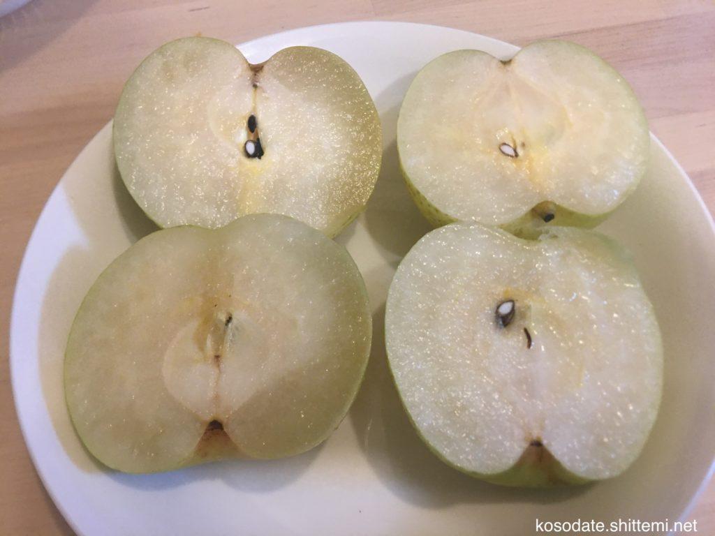 みつ症の梨と正常の梨(切った状態)